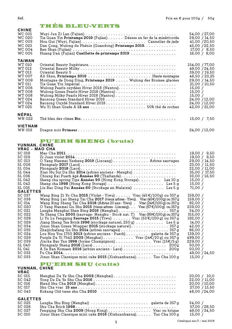 Catalogue des thés neo.T. page 3