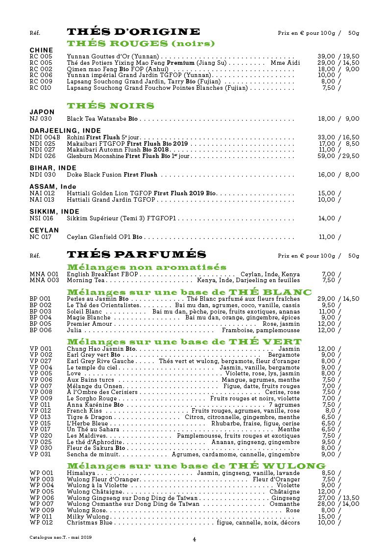 Catalogue des thés neo.T. page 4