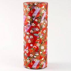 Boîte Rouge Rubans Fleuris