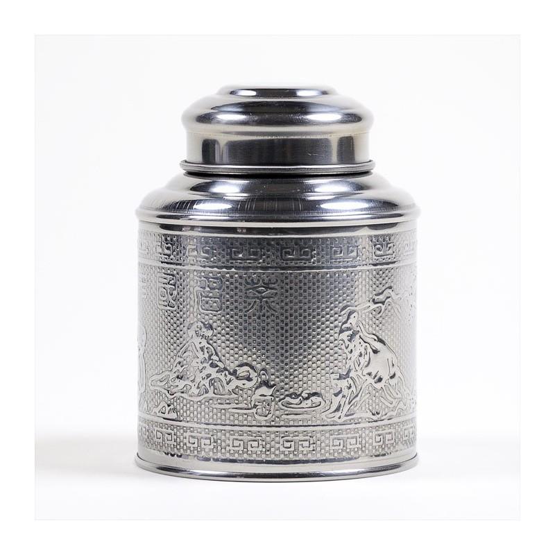 Boîte à thé inox martelé 100g