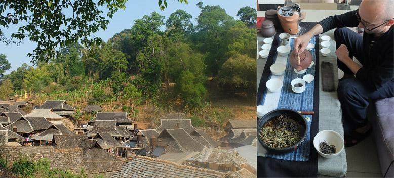 Village dans le Yunnan et Olivier Schneider préparant un pu'erh